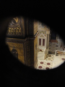 The view over the altar of Monreale Duomo, as seen from the secret corridor above